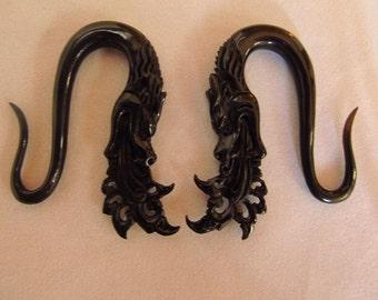 Black Water Buffalo Horn Fire Breathing Naga Snake Dragon Gauge Earrings