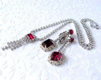 Red Rhinestone Necklace Waterfall Chain Fringe Dangle Drop Clip Earrings Vintage Costume Jewelry Mix 2 Pc Set Pageant Ballroom Formal Siam