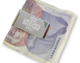 Personalised engraved brother of the groom MONEY CLIP wedding gift, thank you - silver plated  - WE11