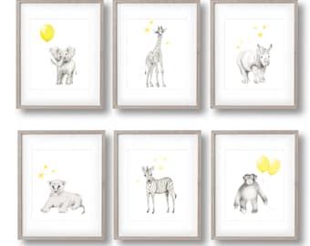Safari Nursery Art, Set of 6 Prints, Elephant, Giraffe, Lion, Zebra, Monkey, Rhino, Yellow  Grey Nursery, Gender Neutral Baby, Art Prints