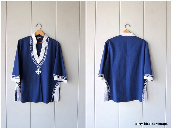 Hawaiian Tunic Top Oversized CAFTAN Pullover 80s Ethnic Boho Tribal Shirt Resort Wear Vacation Blue White Hand Stitched Top Womens Large