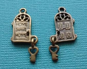 6 Door Charm Bronze Home Sweet Home Door Charm with Key - CB2503 & Door charm   Etsy