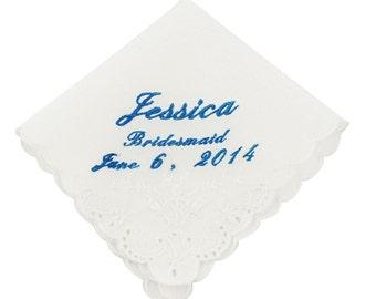 Cursive Custom Bridesmaid Wedding Handkerchief - CH2012