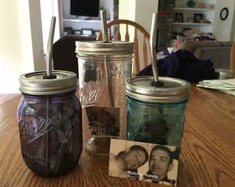 Drinking jars with stainless steel straws. All Profits go to ALS Assoc. for Research.
