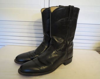 vintage Black Leather Ropers by Justin Boots  size 9 1/2 A (narrow) womens sizing
