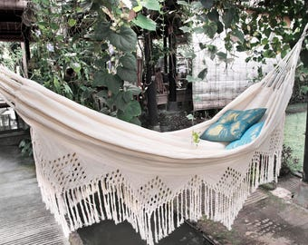 Luxury Hammock with Macrame Cotton Double White