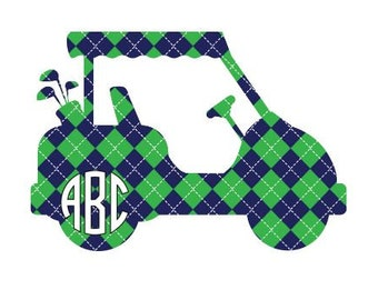 Adhesive Monogram Golf Cart Decal Sticker - Prep School Argyle Decal For Car, Decal For Laptop,Golf Sticker,Monogram Sticker, Monogram Decal