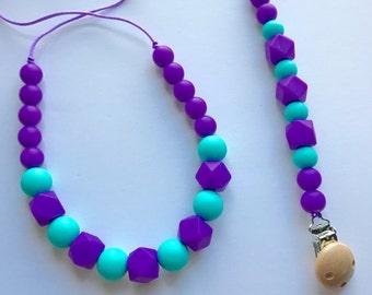 Chic Silicone Hexagon Necklace & Paci Clip Set-Purple