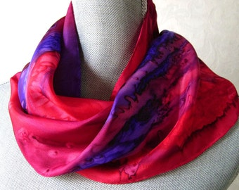Silk Scarf Hand Painted in Red, Berry and Purple, Mother's Day, Gift Packaged and Ready to Ship