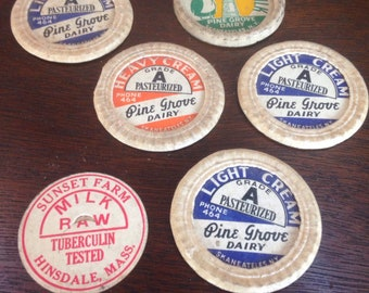 Set of six vintage milk caps
