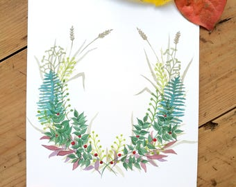 Personalized dedication/name, personalized watercolor, gift Idea, Valentine's Day, painted garland, leaves, decorative garland watercolor #1
