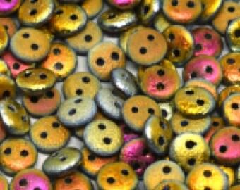 2-hole Lentil 6 mm Etched Crystal Marea Full - 50 beads