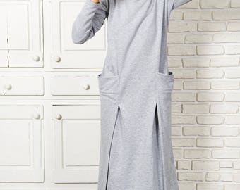 Abaya Dress, Plus Size Kaftan Dress, Maxi Dress, Sweater Dress, Women Dress, Minimalist Dress, Long Maxi Dress, Gray Dress, Elegant Dress,