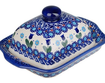 BCV Hand Painted Stoneware Butter Dish with lid 067-U-006