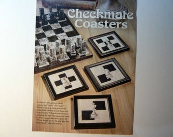 Checkmate Coasters counted cross stitch pattern from Just CrossStitch Magazine