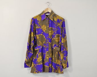 Vintage 90s Blouse, Versace Style Blouse, Gold Chain Pattern Blouse, Early 90s Blouse, 90s Miami Style Top, Long Sleeve Button Up Shirt