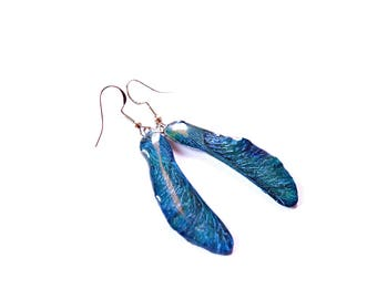 Resin Cicada wings earring - Insect jewelry made from real flower dangle and eco resin Insect earring Beetle jewelry - Insect Resin jewelry