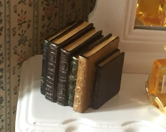 Miniature Books, Small Stack Of Old Books Style 4060, Dollhouse Miniature, 1:12 Scale, Dollhouse Accessory, Library Decor, Resin Book Stack