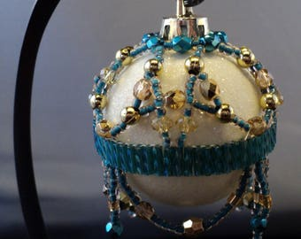 Hand Beaded Original Christmas Ornament, Victorian Style, One of a Kind