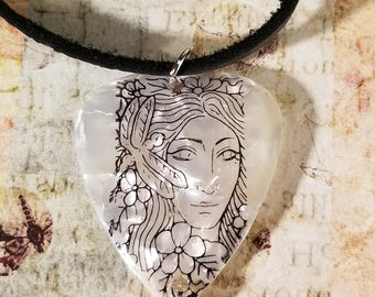 Fantasy Fairy Guitar Pick Pendant Necklace with Dragonfly Charm