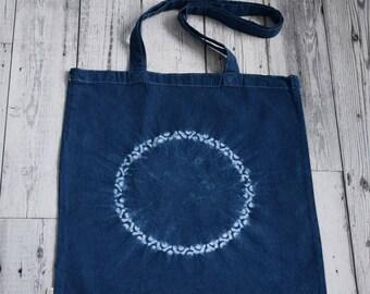 Indigo blue shibori tote bag, Kuruan crown shibori tote bag, blue and white long handled cotton tote bag, FREE SHIPPING