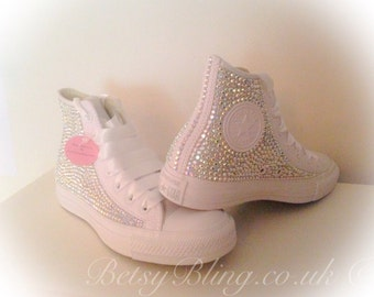 SALE **15% off original price** All over Crystal Hi top Converse 'No Toes' ANY colours - Free UK Delivery