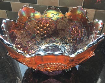 Dugan Grape Arbor Amethyst Carnival Glass Footed Fruit Bowl w/ Fan & Feather Exterior