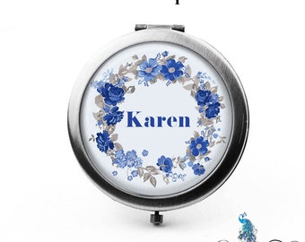 Compact Mirror Retro Blue Flowers Floral Wreath The Karen Bridesmaid Gifts Cosmetic Mirror Personalized Gifts Birthdays Ladies Women