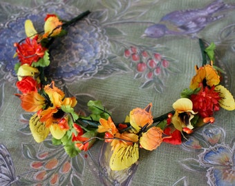 Summer Solstice Faerie Flower & Leaf Crown - Wreath - Tiara - Headband - Prom - Bridal - Wedding