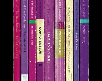 Prince 'Purple Rain' Album As Books Poster Print | Literary Print | Penguin Books | Music Poster Art