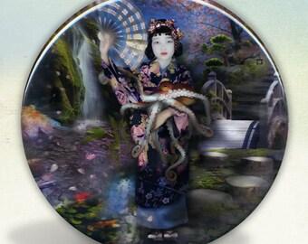 Mizuko In Her Octopus Garden Pocket Mirror tartx
