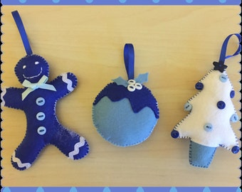 Set of 3 Hanging Christmas Decorations in Blues and White, alternative colours, seasonal decorations (CD001)