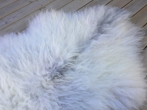 Large and lush sheepskin rug soft, volumous throw sheep skin long haired Norwegian pelt natural grey gray 18079