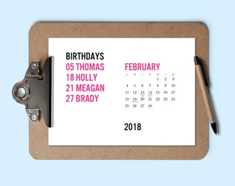 Printable 2018 Calendar - Minimalist Birthday Calendar - Download & Print Calendar - Modern Calendar - Editable PDF - Calendar Templa