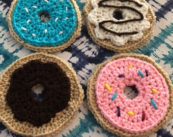 Crochet donut costers set of 4