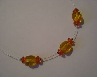 Orange and yellow pearl necklace