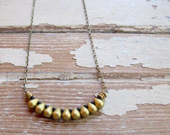 Egyptian - Brass Bronze Copper Bead Necklace - Artisan Tangleweeds Jewelry