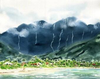 Hawaii Hanalei Bay Kauai Beach Art Watercolor Print  Painting Wedding Honeymoon Gift Huge Big