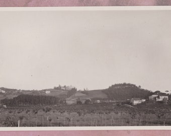 Vintage Photo, Tuscan Landscape, Italy, Tuscany, Europe, Cypress Trees, Hills, Field, Houses, Countryside, Rural, Pastoral, Snapshot