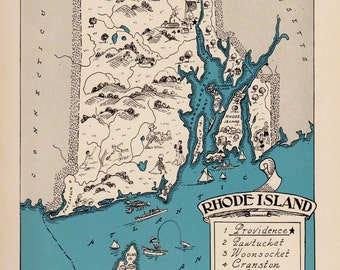 30's Vintage RHODE ISLAND Picture Map of Rhode Island State Cartoon Map Print Map Gallery Wall Art Gift for Traveler Wedding Vacation