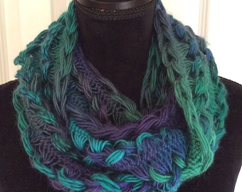Hand crochet infinity scarf, ready to ship