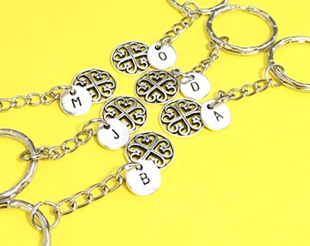 SET OF 6 Personalized, 6 Best Friends, 6 BFF Keychains, Monogram Customized, Personalized Friends Six, Best Friends Forever Gift