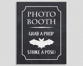 Halloween Photo Booth Grab a Prop & Strike a Pose Sign, Chalkboard Style Halloween Print, Bat, INSTANT PRINTABLE