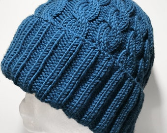 Hand Knitted Teal Merino Cabled Beanie