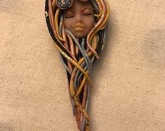 Steampunk Goddess, Gold, Silver, Bronze, Metal Theme Polymer Clay ArtDoll Magnet