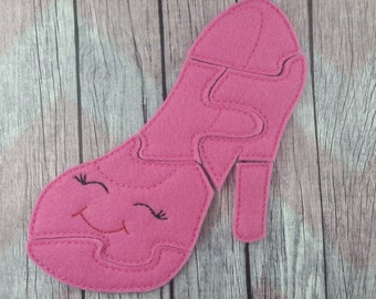 High Heel Shoe Felt Puzzle, Kawaii shoe puzzle, shopkins inspired children's puzzle
