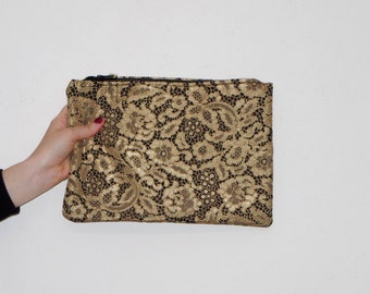 zippered clutch in gold brocade fabric, lace effect