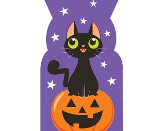 Halloween Treat Bags [20ct] Black Cat Cello Kids Classroom Party Supplies Favors Loot Goodie Bag