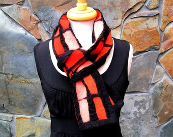 Nuno felt scarf, linear design in shades of orange