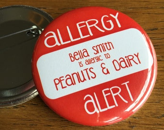 Allergy Pin, Safety ID, Allergy Alert, Allergy Patch, Allergy Button, Epipen, Allergy Tag, Peanut Allergy, Dairy Allergy, Gluten Allergy,nut